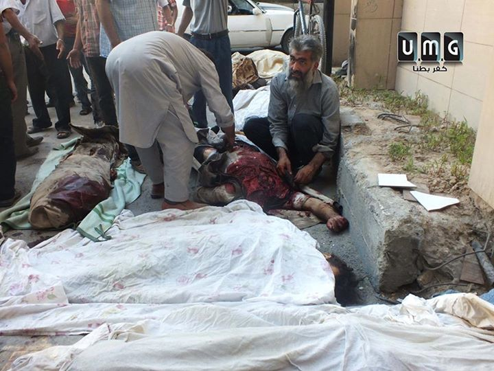 the primary outcome of the massacre committed by warplanes on the town of Kafr Batna exceeded 23 Shahid anonymous martyrs, among them a large number of the wounded were in serious condition. Names of the martyrs that have documented: 1. Noman Nagy 2-Mohamed El ASSA District 3-Hana gifts 4-facilitate alsaour 5-Abu sbeih Marzouk 6-child supporter kanji 7. Thanh long 8-Muhammad al Akili 9. Hassan Nigel 10. Mohammad Mostafa 11. Ghassan Association 12. Hatem Gorani 13. Ghassan Fri 14-Bashar Mohammed Salem 15. Yasser Abdel Aziz 16 unidentified 17-baby girl-an unidentified woman found 5 bodies distorted completely unrecognized until this moment. (Translated by Bing)