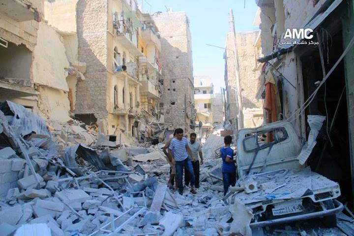 Photo shows destruction in Qatorji neighborhood this morning