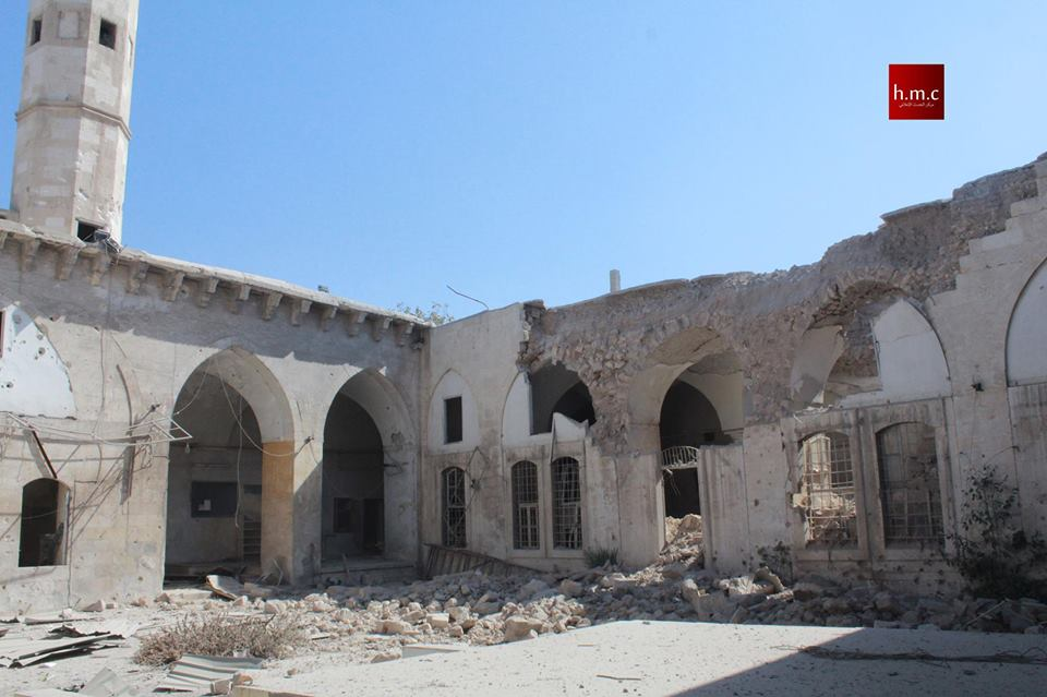 Photo below shows destruction in the ancient Banquosa mosque located in the Bab Al Hadeed area in the old city of Aleppo.